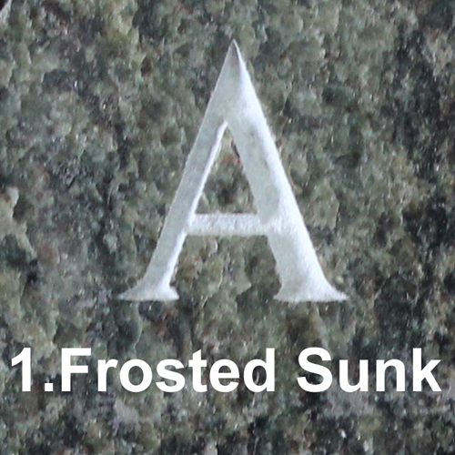 Monument Headstone Frosted Sunk Letter Lettering Style