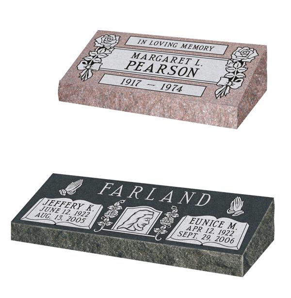 pillow marker, beveled marker, bevel marker, granite marker, grave marker