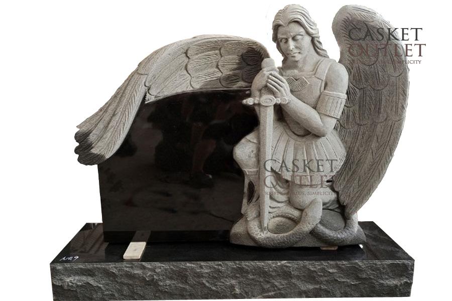 Saint Michael Statue Headstone, Cemetery Monument