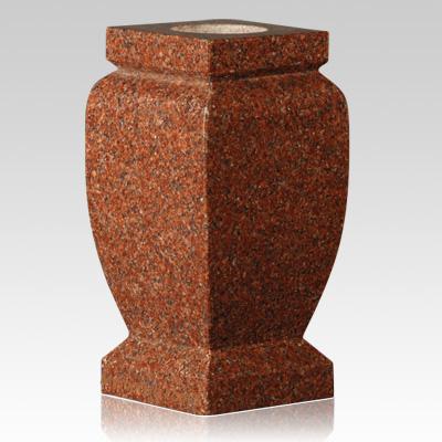 cemetery vase,India Red Granite Stone Square Vase